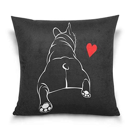 Lewiuzr Funda de cojín Bulldog Negro Perro Pug Francés Amor Corazón Soft Comfortable Pillowcase for Sofa Couch Bed Pillows Sofa Bedroom Car 55x55 cm