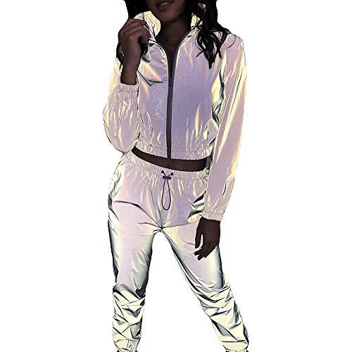 GEMSeven Traje Reflectante De Invierno para Mujer Abrigo Corto con Cremallera De Manga Larga + Pantalones Trajes