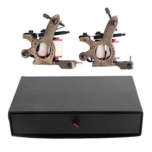 Máquina de tatuaje de bobinas de latón de 2 piezas, máquina de sombreado de tatuaje Máquina de delineador de líneas de sombreado hecha a mano Máquina de bobina de tatuaje Set