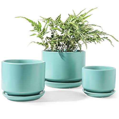 LE TAUCI Indoor Planter, Ceramic Plant Pots with Drainage Hole and Mesh Net, Round Flower Planter Pot for Plants with Saucer/Tray, Small to Large Sized, Set of 3, Aqua