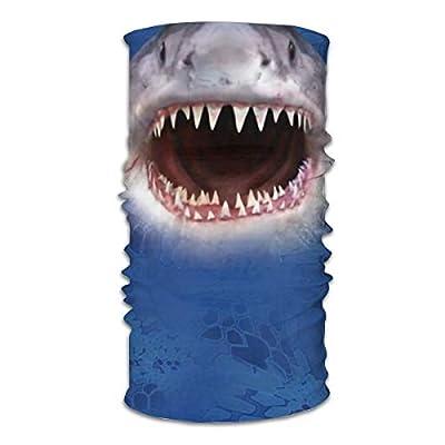 Marine Life Reusable Face Mask Bandana for Dust Headband Magic Scarf Head Wrap Neck Warmer Great Shark with Sharp Teeth White