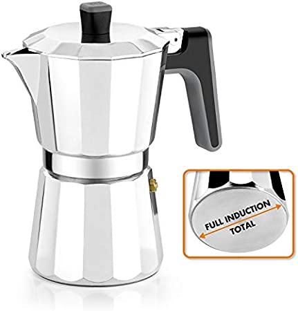 BRA Perfecta – Cafetera Italiana Inducción, Aluminio, capacidad 6 tazas, color plata