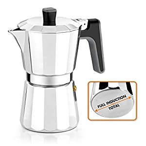 BRA Perfecta – Cafetera Italiana Inducción, Aluminio, capacidad 9 tazas, color plata