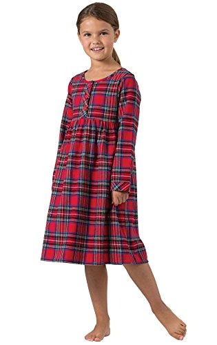 Pajamagram Girls Christmas Nightgown - Girls Flannel Nightgown, Red, 8