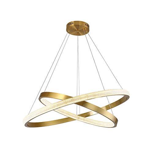 DSYADT Candelabros Lámpara Colgante LED Moderna de Lujo con Dos Anillos únicos Lámpara de Techo Moderna para el hogar Iluminación para Dormitorio 50W 3000K (luz cálida) / 1 lámpara/Diámetro: 60cm