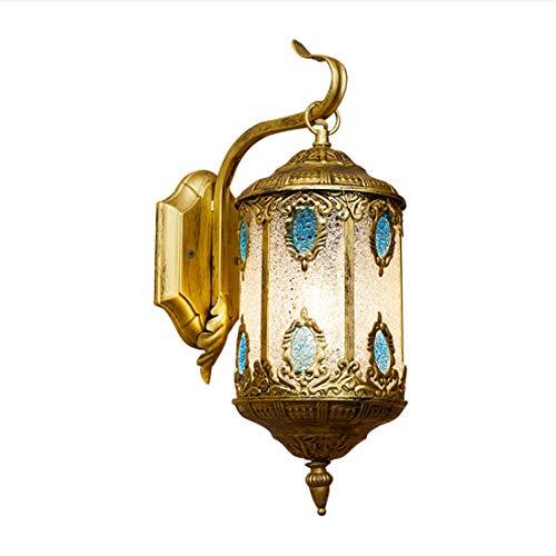 Aozu Farol marroquí apliques de pared con pantalla mediterránea Tiffany – Lámpara de pared turca vintage para dormitorio, sala de...
