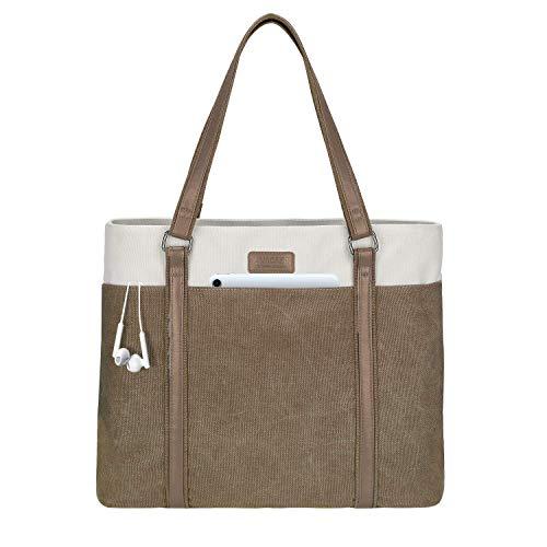 LIVACASA Laptoptasche Damen Business Tote Bag 15.6 Zoll Laptop Verschleißfest Handtasche Notebooktasche Leicht Umhängetasche Schopper Arbeit Aktentasche Schultertasche für Business Schule Braun