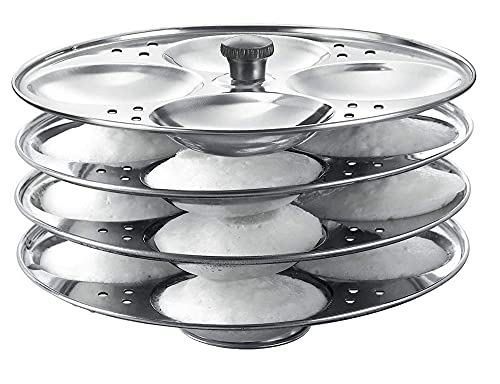 Traditional South Indian Stainless Steel Maker Cooking Idly Idli Stand Kitchen ware 4 Plates Rack Tool Making 16 Perfect Idlis