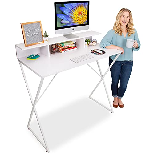 Stand Steady Joy Desk   Modern Standing Workstation with Storage Cubbies   Pretty Standing Desk w/Spacious Desktop   Multifunctional Table - Great for Home, Office & More (White Wood Grain / 48 x 42)
