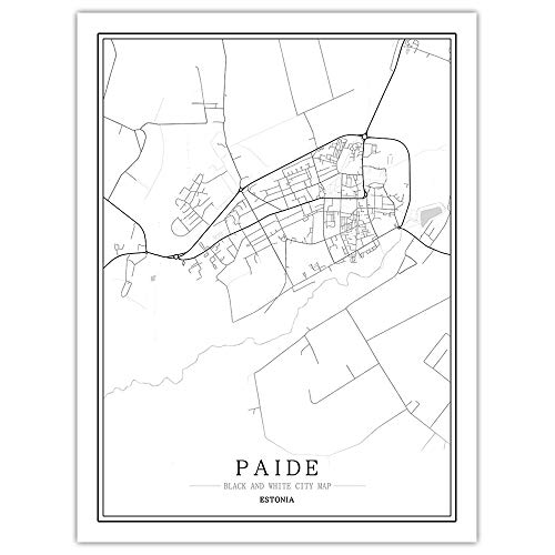 peng Prints Canvas, Estonia Paide City Map Black White Simple Minimalist Art Mural Poster Frame less Picture,Modern Vertical Painting Cafe Office Home Decor,30 * 40cm