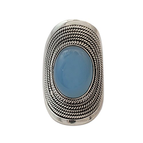 NOVICA Blue Chalcedony .925 Sterling Silver Cocktail Ring, Jaipur Skies'