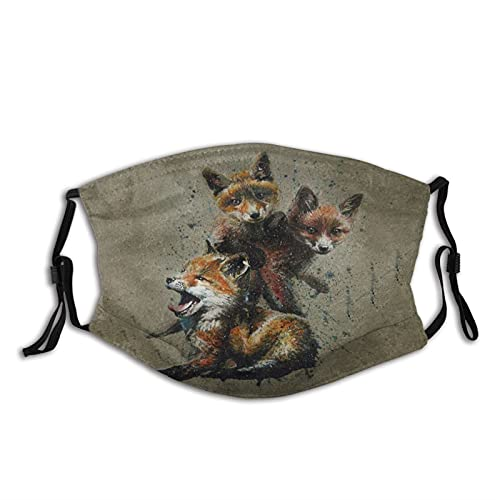 Little Fox Meal Background Mens Women Washable Reusable Bandanas 3D Print Breathable Mouth Cover with 2 Filter,1PCS,