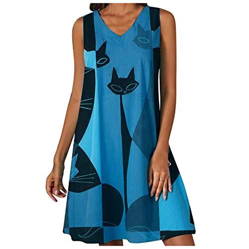 Masrin Frauenkleid Katzenmotiv Abstrakter Druck Freizeitkleid V-Ausschnitt Ärmelloses, lockeres Etuikleid Strandkleid Partykleider(L,Blau)