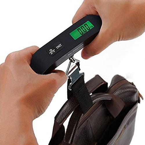 Báscula de equipaje MARSPOWER Báscula de mano electrónica digital portátil Báscula colgante para maletas y bolsas, 50 KG con función de apagado automático y tara - Negro