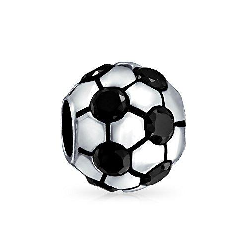 Negro CZ blanco balón de fútbol mamá jugador de fútbol deportes encanto cuenta para las mujeres de plata de ley ajuste pulsera europea