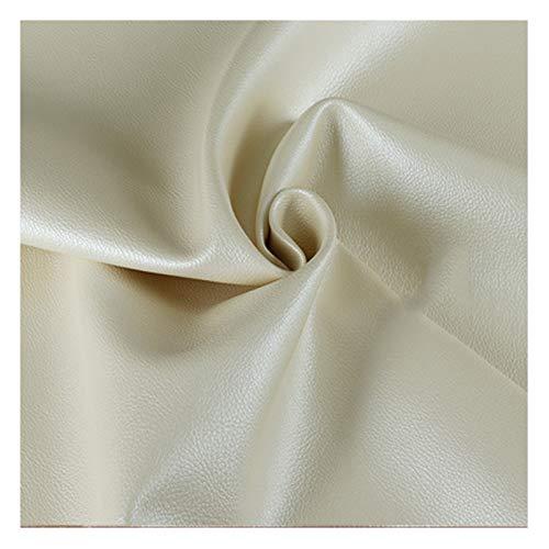 Tela de Cuero Sintético Cuero Sintético Resistente Tela de Cuero de Vinilo Tapicería Material Texturizado -138 Cm de Ancho, Blanco Perla (Size : 1.38x8m)