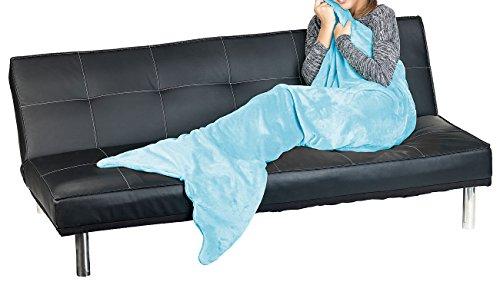 Wilson Gabor Decke mit Schwanzflosse: Weiche Meerjungfrau-Decke mit Flosse für Kinder, 140 x 60 cm, hellblau (Flanell-Decke)
