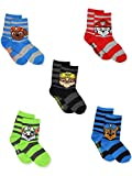 Paw Patrol Toddler Boys 5 Pack Crew Style Socks Set (Shoe: 7-10 (Sock: 4-6), 5 Pack Crew)