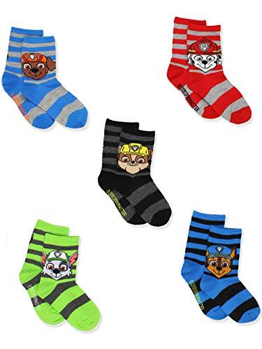 Paw Patrol Toddler Boys 5 Pack Crew Style Socks Set (Shoe: 4-7 (Sock: 2-4), 5 Pack Crew)
