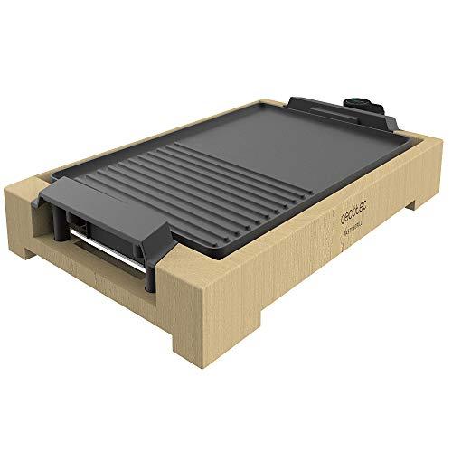 Cecotec Plancha de asar eléctrica Tasty&Grill 2000 Bamboo Black. Potencia 2000 W, Acabados en acero inoxidable, Termostato regulable, Superficie grill, Revestimiento RockStone, Apta para lavavajillas