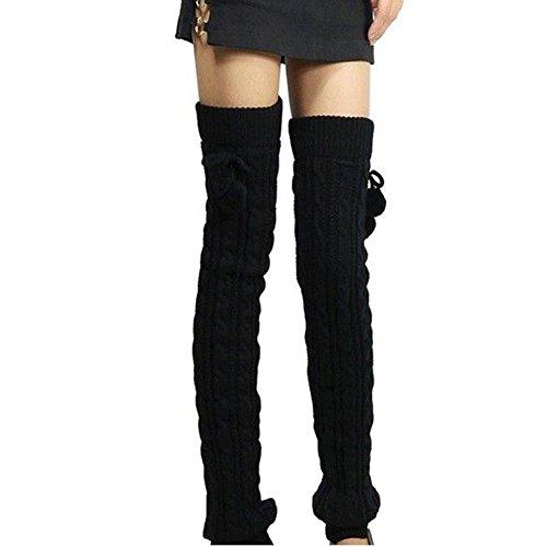 Butterme Frauen Damen Winter Mode Beinlinge Strumpf stricken starke lange Socken Lady Häkelarbeit Legging Bestes Weihnachtsgeschenk, Schwarz, 65