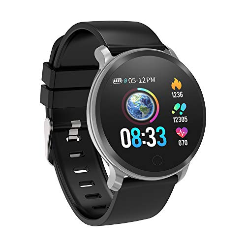 BingoFit Fitness Tracker Impermeabile IP68 Android iOS Smart Watch Orologio Cardiofrequenzimetro da Polso Braccialetto Uomo Donna Bambini Sport Contapassi Cronometro per iPhone Samsung Huawei Nero