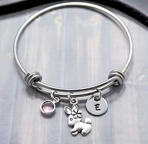 Rabbit Bangle Bracelet - Easter Jewelry for Girls - Bunny Themed Gift Idea - Personalized Birthstone & Initial
