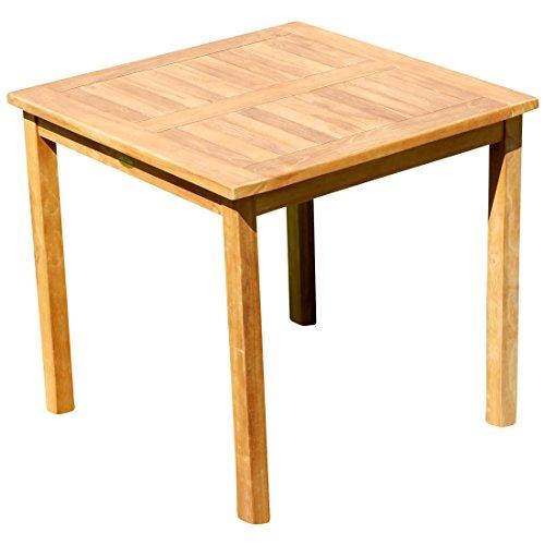 ASS Teak Holztisch Gartentisch Garten Tisch 80x80cm Gartenmöbel Holz sehr robust Modell: JAV-ALPEN80 von