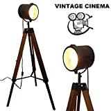 Industrial Tripod Floor Lamp for Living Room Bedroom, Vintage Spotlight Reading Lamp with Wooden Metal Legs,Nautical Searchlight Floor Lamp for Office, Cinema, Dorm, Black (-Without Edison Bulb)