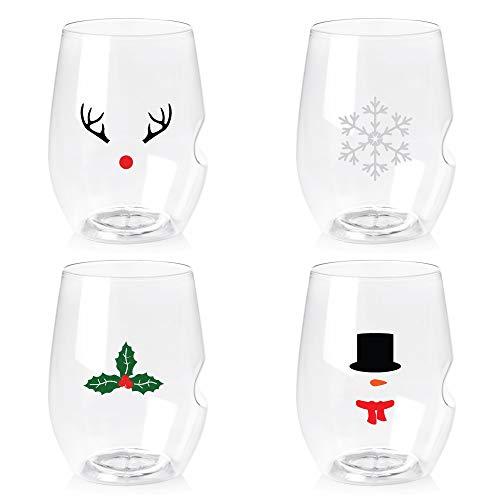 Govino 16 Ounce Dishwasher Safe Wine Glasses 4 Pack – Custom Holiday Icons