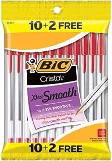 Bic Cristal Xtra-Smooth Ball Pen - 10 plus 2 Bonus Pack (12 count) - Red Medium Point Ballpoint Pen