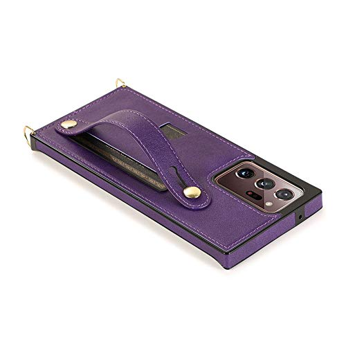 Tirón de la Caja Casos de teléfono Billetera de Cuero de Piel de teléfono de protección Cubierta Posterior con la Correa de Mano Soporte para Samsung Note 20 Ultra Violeta Muy Sencillo