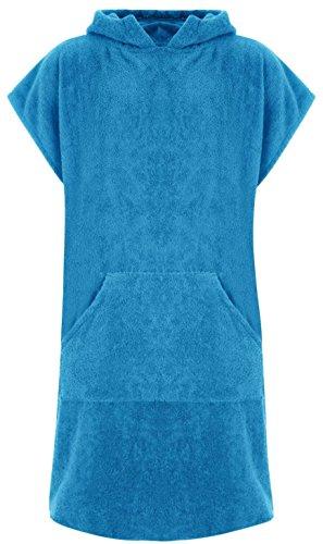 Adore Erwachsene 100% Baumwolle Bademantel Poncho mit Tasche Herren & Damen Frottiermantel Umkleidemantel Handtuch Schwimmen Surfen - L/XL, Aquamarin (mit Taschen)