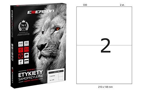 Netuno 100 fogli adesivi formato A4 con etichette bianche con adesivo (2 etichette da 210 x 148 mm per foglio) 200 etichette su fogli A4 etichette adesive universali per archiviare e organizzare