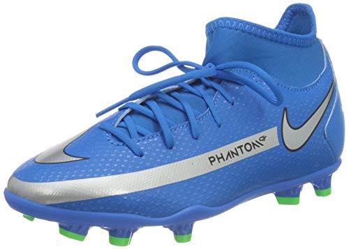 Nike JR Phantom GT Club DF FG/MG, Scarpe da Calcio, Photo Blue/Mtlc Silver-Rage Green-Black, 35 EU