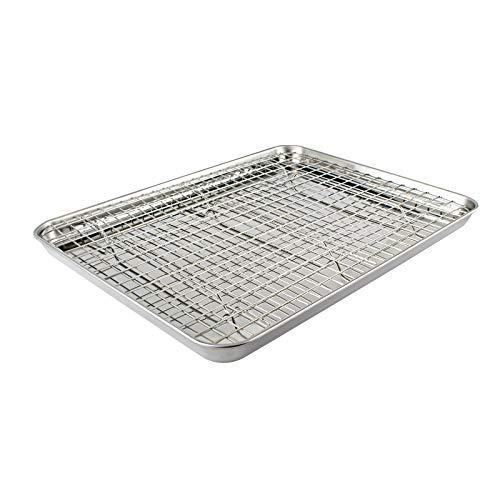 HOMVIDA Baking Sheet with Rack Set Stainless Steel Cookie Sheet Cooling Rack Toasting Bakeware Oven-Safe Warp Resistant 16 x 12 x 1 Inch (1 Sheet+1 Rack)