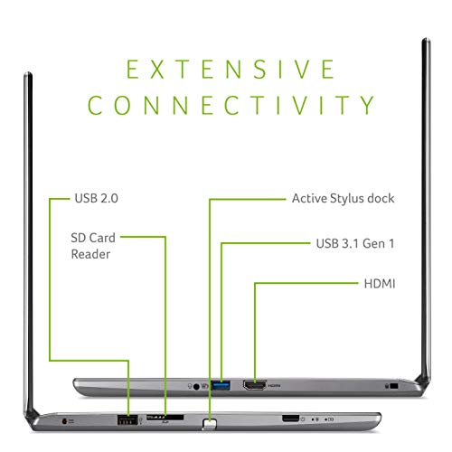 Acer Spin 3 Converti   ble Laptop, 14 inches Full HD IPS Touch, 8th Gen Intel Core i7-8565U, 16GB DDR4, 512GB PCIe NVMe SSD, Backlit KB, Fingerprint Reader, Rechargeable Active Stylus, SP314-53N-77AJ
