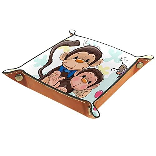 Bandeja de Cuero Saludo a dos monos Padre y Babyson Almacenamiento Bandeja Organizador Bandeja de Almacenamiento Multifunción de Piel para Relojes,Llaves