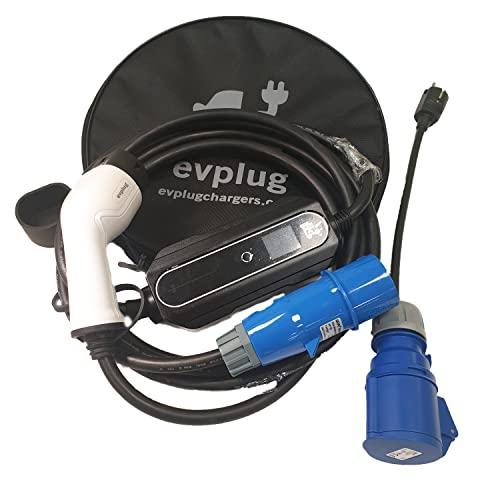 evplug/Cargador EV portatil Coche electrico PHEV   Potencia Variable   7.2kW   Typ 2 IEC 62196-2  5 m   Compatible ZOE, Kona, E-208, 3, ID.3, MII, etc (Tipo2, 7,4kW, 5m) + Adaptador Schuko
