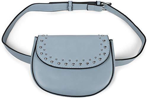 styleBREAKER Damen Multi Umhängetasche und Bauchtasche mit Nieten und Reißverschluss, Schultertasche, Gürteltasche 02012284, Farbe:Hellblau