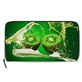 Emoya Damen Portemonnaie Clutch Kiwi Fruit Milk Reißverschluss Wallet Kartenhalter Case Lange Damen...