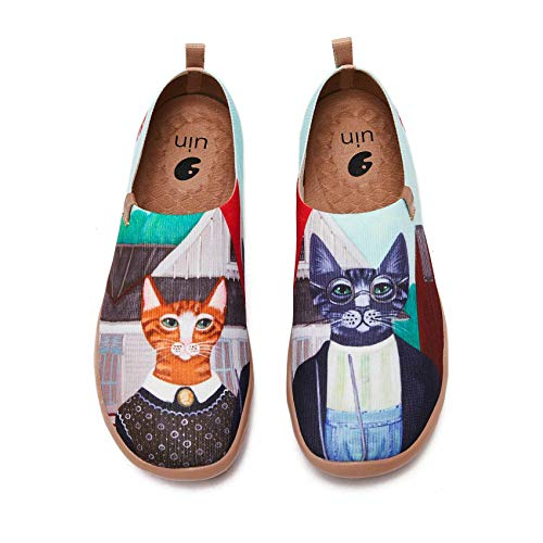 UIN Women's Walking Travel Shoes Slip On Knitted Casual Loafers Lightweight Comfort Fashion Sneaker Cat Couple (10.5)