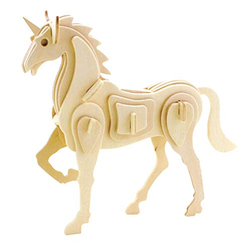 Georgie Porgy 3D Wooden Puzzle Unicorn Model Woodcraft Construction kit Kids Toys age 5+ (JP257 unicorn 30pcs)