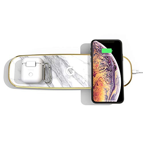 GAZE Triple Pad Fast Wireless Charging Marble pad w/Additional Dual Cable Charging Support, GAZEON Qi Certified 10W Wireless Charger Station Compatible for iPhone 8 or Newer AirPods Galaxy S10/Buds