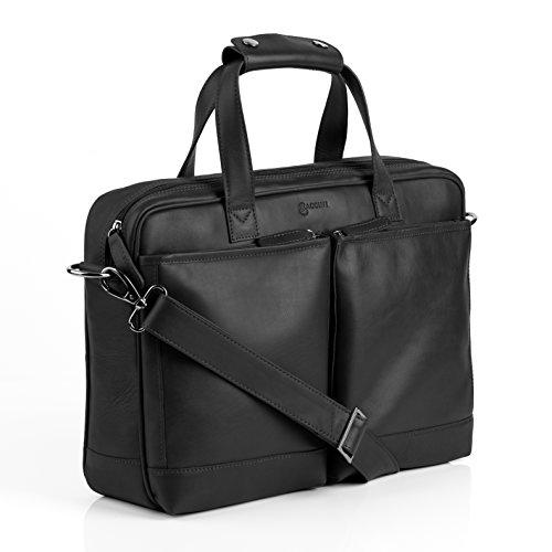 BACCINI Laptoptasche echt Leder Marco groß Businesstasche Umhängetasche Aktentasche Laptopfach 15.6