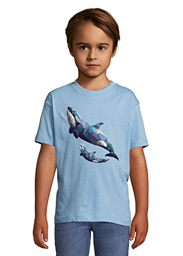 Luckyprint Polygon Styled Sea Orca Mother Child Heaven Kids Colorful T-Shirt 12 Year Old