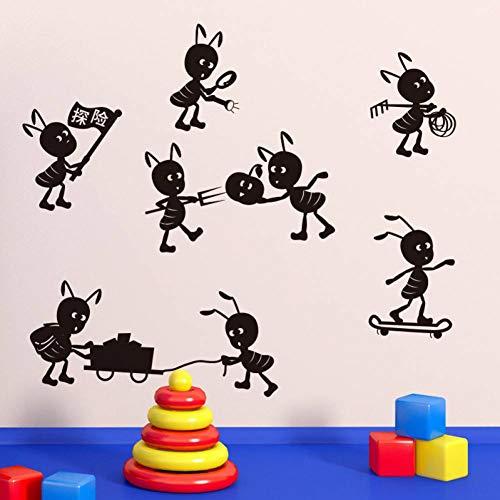 LGDBY Ants Move House Drôle Stickers Muraux Adhésif Vinyle Stickers Muraux Décoration de Bande Dessinée Enfants Chambre Fenêtre Autocollants