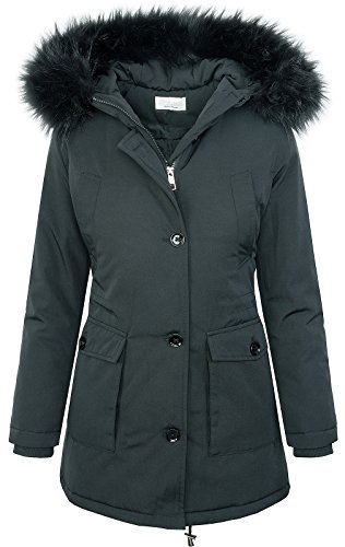 Rock Creek Designer Damen Jacke Parka Winterjacke Outdoorjacke Damenmantel Damenparka Damenjacken Kunstpelz Kapuze Warm Gefüttert Lang D-350 Dunkelgrau XS
