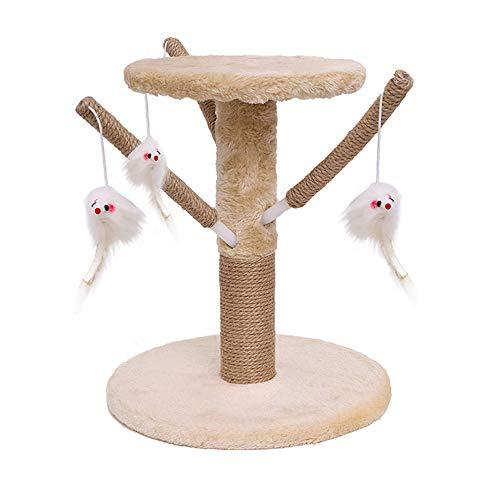 Famgizmo - Rascador para gatos de sisal natural, 35 cm, árbol rascador para gatos con juguetes flotantes, centro de actividades para gatos, muebles para gatos, torre de escalada, color beige