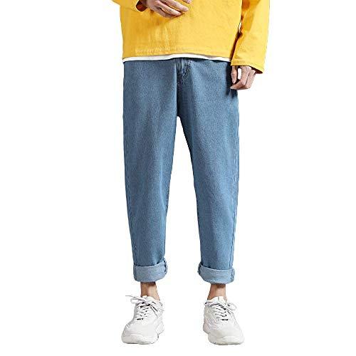 brandless Men's Jeans Casual Solid Color Large Size Loose Endurance Retro Casual Pants Light Blue